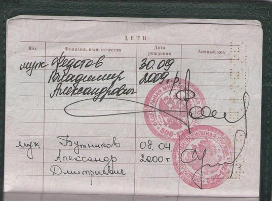 Так выглядят записи о детях в паспорте гражданина РФ